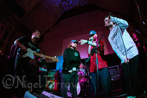 08 APR 2016 - STOWMARKET, GBR - Ben Brown (left) of Superglu joins with Muckaniks (right) and Whispy Ray (second from the left) and Rye Shabby from the Indigo Frequency label during a recording for BBC Introducing at the John Peel Centre for Creative Arts in Stowmarket, Suffolk, Great Britain (PHOTO COPYRIGHT © 2016 NIGEL FARROW, ALL RIGHTS RESERVED)