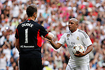 Real Madrid´s Roberto Carlos and Liverpool´s Dudek during 2015 Corazon Classic Match between Real Madrid Leyendas and Liverpool Legends at Santiago Bernabeu stadium in Madrid, Spain. June 14, 2015. (ALTERPHOTOS/Victor Blanco)