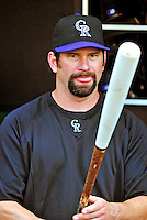 9 July 2011: Colorado Rockies first baseman Todd Helton selects a bat while awaiting his turn in the batting cage prior to a game against the Washington Nationals at Nationals Park in Washington, District of Columbia. The Rockies edged out the Nationals 2-1 to win the second game of their 3-game series. Mandatory Credit: Ed Wolfstein Photo