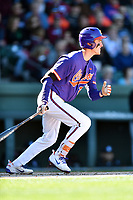 Clemson Tigers third baseman Patrick Cromwell (25) swings at a pitch during a game against the South Carolina Gamecocks at Fluor Field on March 3, 2018 in Greenville, South Carolina. The Tigers defeated the Gamecocks 5-1. (Tony Farlow/Four Seam Images)