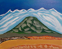 Don't go looking for this mountain. It existed only in my imagination and now on this canvas. <br />