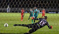 TUNJA- COLOMBIA, 22-03-2021:Diego Herazo de La Equidad convierte el gol de su equipo durante partido por la fecha 13 entre Patriotas Boyacá y  La Equidad como parte de la Liga BetPlay DIMAYOR 2021 jugado en el estadio  La Independencia  de la ciudad de Tunja/ Diego Herazo of La Equidad scores the goal of his team during match for the date 13  between Patriotas Boyaca  and La Equidad BetPlay DIMAYOR League I 2021 played at  La Independencia   stadium in Tunja city. Photo: VizzorImage / Edward Leguizamon / Contribuidor