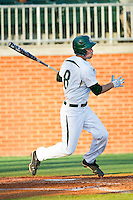 Shane Basen (8) of the Charlotte 49ers follows through on his swing against the Delaware State Hornets at Robert and Mariam Hayes Stadium on February 15, 2013 in Charlotte, North Carolina.  The 49ers defeated the Hornets 13-7.  (Brian Westerholt/Four Seam Images)