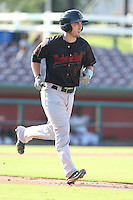 Joe Hudson #4 of the Bakersfield Blaze runs to first base during a game against the Inland Empire 66ers at San Manuel Stadium on August 21, 2014 in San Bernardino, California. Inland Empire defeated Bakersfield, 3-1. (Larry Goren/Four Seam Images)