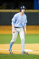 Colin Moran (18) of the North Carolina Tar Heels takes his lead off of third base against the Wake Forest Demon Deacons at Wake Forest Baseball Park on March 9, 2013 in Winston-Salem, North Carolina.  The Tar Heels defeated the Demon Deacons 20-6.  (Brian Westerholt/Four Seam Images)