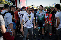 Maximilian Schachmann (DEU/Bora-Hansgrohe) crashed during the TT, but managed to finish the stage.<br /> Afterward it became clear he broke 3 hand-bones and as a consequence wouldn't start the next stage.<br /> <br /> Stage 13 (ITT): Pau to Pau(27km)<br /> 106th Tour de France 2019 (2.UWT)<br /> <br /> ©kramon
