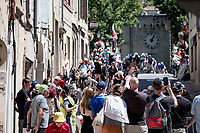 capturing the peloton rolling through town<br /> <br /> Stage 13 from Nîmes to Carcassonne (220km)<br /> 108th Tour de France 2021 (2.UWT)<br /> <br /> ©kramon
