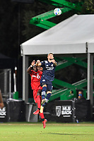 LAKE BUENA VISTA, FL - JULY 26: Valentín Castellanos of New York City FC leaps for a header while challenged by Chris Mavinga of Toronto FC during a game between New York City FC and Toronto FC at ESPN Wide World of Sports on July 26, 2020 in Lake Buena Vista, Florida.