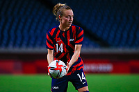 SAITAMA, JAPAN - JULY 24: Emily Sonnett #14 of the United States retrieves the ball during a game between New Zealand and USWNT at Saitama Stadium on July 24, 2021 in Saitama, Japan.