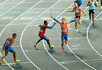 2nd May 2021; Silesian Stadium, Chorzow, Poland; World Athletics Relays 2021. Day 2; Van Diepen runs off to celebrate with his team mates Angela, Dobber and Bonevacia to celebrate winning the mens 4 x 100
