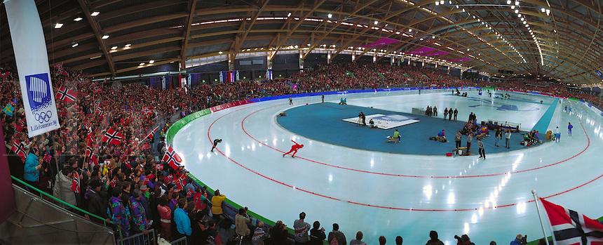 Lillehammer Olympic Viking Ship Speed Skating Oval. Hammer, Norway Olympic Speed Skating Arena.