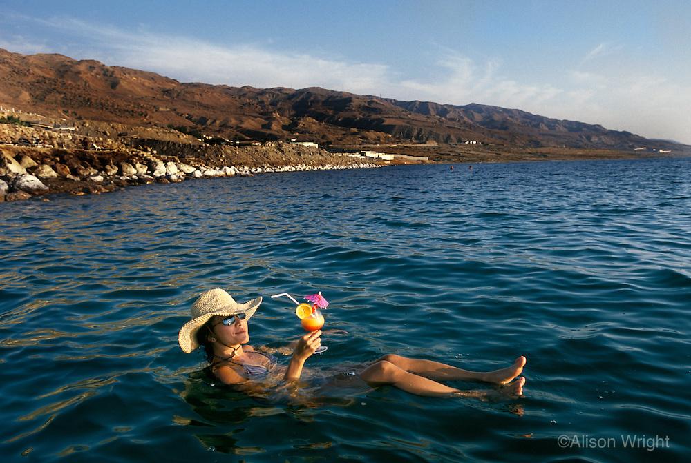 Floating in the Dead Sea in Jordan.
