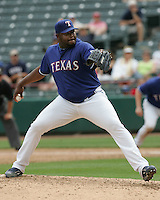 Texas Rangers P Franklyn German against the Seattle Mariners on May 14th, 2008 at Texas Rangers Ball Park in Arlington, Texas. Photo by Andrew Woolley .