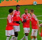 Fussball-Bundesliga - Saison 2020/2021<br /> Opel-Arena Mainz - 7.11.2020<br /> 1. FSV Mainz 05 (mz) - Schalke 04 (s04)<br /> #Jubel nach dem 2:1, v.li: #z05#, Torschütze Jean-Philippe MATETA (1. FSV Mainz 05), Leandro BARREIRO (1. FSV Mainz 05), Daniel BROSINSKI (1. FSV Mainz 05)<br /> <br /> Foto © PIX-Sportfotos *** Foto ist honorarpflichtig! *** Auf Anfrage in hoeherer Qualitaet/Aufloesung. Belegexemplar erbeten. Veroeffentlichung ausschliesslich fuer journalistisch-publizistische Zwecke. For editorial use only. DFL regulations prohibit any use of photographs as image sequences and/or quasi-video.