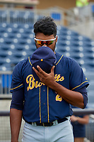 Montgomery Biscuits Jermaine Palacios (2) during the national anthem before a Southern League game against the Biloxi Shuckers on May 8, 2019 at MGM Park in Biloxi, Mississippi.  Biloxi defeated Montgomery 4-2.  (Mike Janes/Four Seam Images)