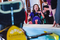 COPY BY TOM BEDFORD<br /> Sunday 26 June 2016<br /> Pictured: Poppy tests out the boat in the university pool prior to  the race<br /> Re: A very special father-and-daughter team have tackled the Cardiff Triathlon.<br /> Poppy Jones, 11, who will be competing alongside dad Rob Jones, wants to win the event.<br /> And she's not going to let the fact that she has quadriplegic cerebral palsy , which means she can't sit, stand, roll or support herself, and chronic lung disease stop her.<br /> She will be by Rob's side every step of the way thanks to a cutting-edge wheelchair and boat – for Rob to push or pull – designed especially for the event, which sees participants take part in a swim across Cardiff Bay , a run and a bike ride.