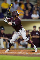 Mississippi State Bulldog outfielder Tyler Fullerton #9 at bat against the LSU Tigers during the NCAA baseball game on March 16, 2012 at Alex Box Stadium in Baton Rouge, Louisiana. LSU defeated Mississippi State 3-2 in 10 innings. (Andrew Woolley / Four Seam Images)