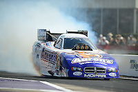 Apr. 27, 2012; Baytown, TX, USA: NHRA funny car driver Matt Hagan during qualifying for the Spring Nationals at Royal Purple Raceway. Mandatory Credit: Mark J. Rebilas-