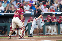 Texas Tech Red Raiders outfielder Dylan Neuse (9) crosses the plate during Game 9 of the NCAA College World Series against the Florida State Seminoles on June 19, 2019 at TD Ameritrade Park in Omaha, Nebraska. Texas Tech defeated Florida State State 4-1. (Andrew Woolley/Four Seam Images)