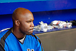 3 April 2006: Cliff Floyd, outfielder for the New York Mets, sits in the dugout prior to the Opening Day game against the Washington Nationals at Shea Stadium, in Flushing, New York. The Mets defeated the Nationals 3-2 to lead off the 2006 MLB season...Mandatory Photo Credit: Ed Wolfstein Photo..