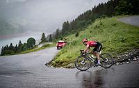 Nairo Quintana (COL/Arkea Samsic) descending the Col du Pré (HC/1748m) as race leader towards the Barrage de Roselend in, yet again, grim conditions.<br /> <br /> Stage 9 from Cluses to Tignes (145km)<br /> 108th Tour de France 2021 (2.UWT)<br /> <br /> ©kramon