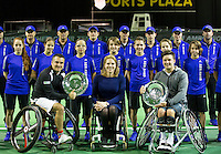 Februari 13, 2015, Netherlands, Rotterdam, Ahoy, ABN AMRO World Tennis Tournament, Stephane Houdet (FRA) / Gordon Reid (GBR) with Esther Vergeer (NED)<br /> Photo: Tennisimages/Henk Koster