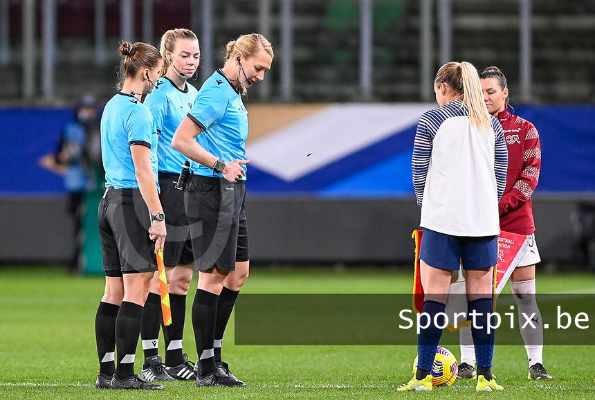 referee Tess Olofsson pictured during the toss ahead of the Womens International Friendly game between France and Switzerland at Stade Saint-Symphorien in Longeville-lès-Metz, France.