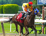 July 10, 2021: Trinni Luck #1, ridden by jockey Manny Franco wins an allowance at Belmont Park in Elmont, New York on July 10, 2021. Dan Heary/Eclipse Sportswire/CSM