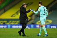 6th April 2021; Carrow Road, Norwich, Norfolk, England, English Football League Championship Football, Norwich versus Huddersfield Town; Norwich City Manager Daniel Farke celebrates the 7-0 win with Tim Krul