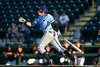 Charlotte Stone Crabs shortstop Willy Adames (2) hits a home run during a game against the Bradenton Marauders on April 22, 2015 at McKechnie Field in Bradenton, Florida.  Bradenton defeated Charlotte 7-6.  (Mike Janes/Four Seam Images)