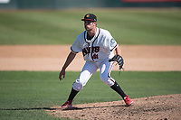 Modesto Nuts relief pitcher Wyatt Mills (41) plants his feet after delivery a pitch during a California League game against the Lake Elsinore Storm at John Thurman Field on May 13, 2018 in Modesto, California. Lake Elsinore defeated Modesto 4-3. (Zachary Lucy/Four Seam Images)