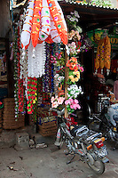 Myanmar, Burma.  Mandalay.  Shop Decorations, Flower Garlands.