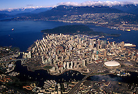 Vancouver aerial looking northwest.  Cambie Street Bridge and False Creek in foreground.  Vancouver, British Columbia, Canada