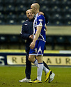18/01/2011   Copyright  Pic : James Stewart.sct_jsp024_kilmarnock_v_hearts  .:: HEARTS ASSISTANT MANAGER BILLY BROWN WITH KILMARNOCK'S CONOR SAMMON AT THE END OF THE GAME ::.James Stewart Photography 19 Carronlea Drive, Falkirk. FK2 8DN      Vat Reg No. 607 6932 25.Telephone      : +44 (0)1324 570291 .Mobile              : +44 (0)7721 416997.E-mail  :  jim@jspa.co.uk.If you require further information then contact Jim Stewart on any of the numbers above.........