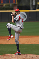 Stony Brook Seawolves pitcher Evan Stecko-Haley pitching during a game against the  East Carolina University Pirates at Clark-LeClair Stadium on March 4, 2012 in Greenville, NC.  East Carolina defeated Stony Brook 4-3. (Robert Gurganus/Four Seam Images)