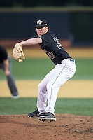 Wake Forest Demon Deacons relief pitcher Chris Farish (32) in action against the Clemson Tigers at David F. Couch Ballpark on March 12, 2016 in Winston-Salem, North Carolina.  The Tigers defeated the Demon Deacons 6-5.  (Brian Westerholt/Four Seam Images)