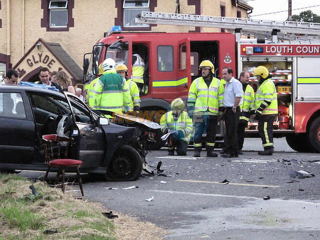 Ardee fire service backed up by a rescue tender from Dundalk attended the scene three ambulances and an advances paramedic jeep attended the scene...Photo: Fran Caffrey/www.newsfile.ie...