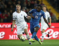 Football: Euro 2020 Group J qualifying football match Italy vs Finland at the Friuli Stadium in Udine on march  23, 2019<br /> Italy's Moise Kean (r) scores during the Euro 2020 qualifying football match between Italy and Finland at the Friuli Stadium in Udine, on march 23, 019<br /> UPDATE IMAGES PRESS/Isabella Bonotto
