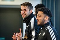Thursday  21 January 2016<br /> Pictured: Lukasz Fabianski of Swansea and Neil Taylor of Swansea during training<br /> Re: Swansea City Training Session at the Fairwood training ground