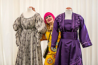 BNPS.co.uk (01202 558833)<br /> Pic: MaxWillcock/BNPS<br /> <br /> Pictured: Dame Zandra Rhodes with three dresses made by students at Arts University Bournemouth.<br /> <br /> British fashion and textile designer Dame Zandra Rhodes opens the new Fashion Gallery at The Salisbury Museum in Salisbury, Wiltshire.