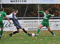 GD Ingooigem - NS Heule : duel tussen Christophe Raepsaet (rechts) en Angelino Dhondt.foto VDB / BART VANDENBROUCKE