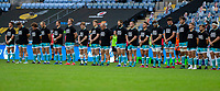 21st August 2020; Ricoh Arena, Coventry, West Midlands, England; English Gallagher Premiership Rugby, Wasps versus Worcester Warriors; Worcester line up wearing Rugby Against Racism t-shirts before the Gallagher Premiership Rugby match between Wasps and Worcester Warriors at Ricoh Arena