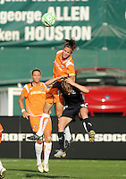 Washington Freedom  midfielder/forward Rebecca Moros (19) is caught from behind by a leaping Sky Blue FC defender Keeley Dowling .  Washington Freedom defeated Sky Blue FC 2-1 at RFK Stadium, Saturday May 23, 2009.