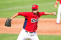 Orem Owlz relief pitcher Tyler DeLoach (26) in action against the Billings Mustangs at Brent Brown Ballpark on July 22, 2012 in Orem, Utah.  The Mustangs defeated the Owlz 13-8.  (Brian Westerholt/Four Seam Images)