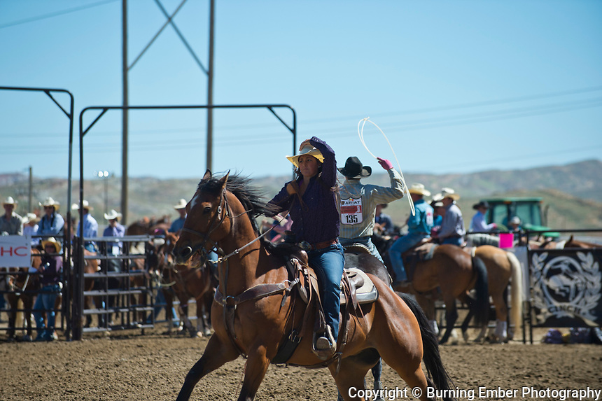 Oliver and Wise in the Team Roping event at the Saturday Short Go round event at the Wyoming State High School Finals Rodeo in Rock Springs Wyoming.  Photo by Josh Homer/Burning Ember Photography.  Photo credit must be given on all uses.
