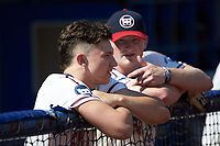 Zach Gelof (26) (UVA) of the High Point-Thomasville HiToms watches from the dugout during the game against the Old North State League West All-Stars at Hooker Field on July 11, 2020 in Martinsville, VA. The HiToms defeated the Old North State League West All-Stars 12-10. (Brian Westerholt/Four Seam Images)