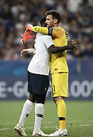 International friendly football match France vs Italy, Allianz Riviera, Nice, France, June 1, 2018. <br /> France's Captain and goalkeeper Hugo Lloris (r) and Samuel Umtitic (l) celebrate after winning 3-1 the international friendly football match between France and Italy at the Allianz Riviera in Nice on June 1, 2018.<br /> UPDATE IMAGES PRESS/Isabella Bonotto