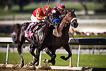 Govenor Charlie (orange silks) with jockey MARTIN GARCIA defeats Footbridge and GARRETT GOMEZ to win a maiden race at Santa Anita Park in Arcadia, California on February 17, 2013. (( Special transmission of horses in the Top 25 for points for the 2013 KentuckyDerby ))