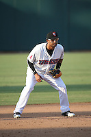 Roberto Baldoquin (21) of the Inland Empire 66ers in the field at third base during a game against the Visalia Rawhide at San Manuel Stadium on June 26, 2016 in San Bernardino, California. Inland Empire defeated Visalia, 5-1. (Larry Goren/Four Seam Images)