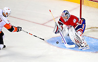 24 November 2008:  Montreal Canadiens' goaltender Carey Price makes a save against the New York Islanders in an overtime shootout at the Bell Centre in Montreal, Quebec, Canada. The Canadiens, celebrating their 100th season, lost the shootout and the game 4-3. ****Editorial Use Only****..Mandatory Photo Credit: Ed Wolfstein Photo *** Editorial Sales through Icon Sports Media *** www.iconsportsmedia.com